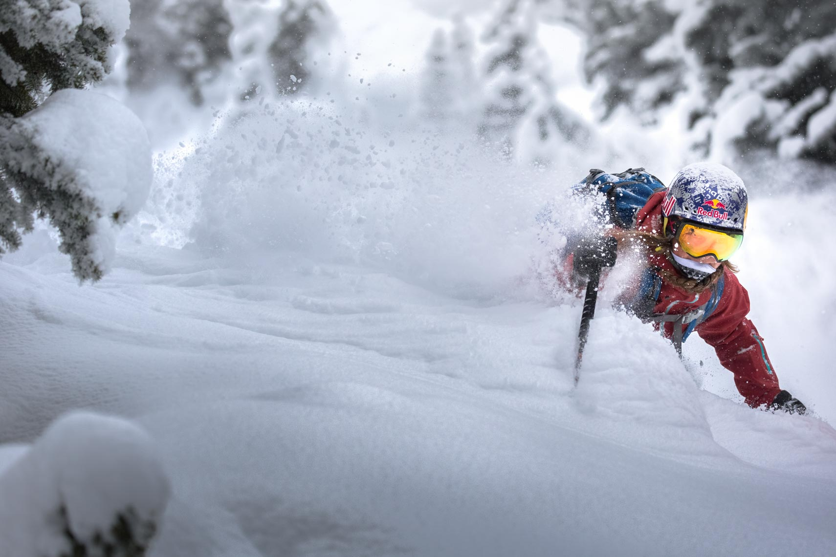 Female pro skier Michelle Parker in the esplanade range, BC, Canada