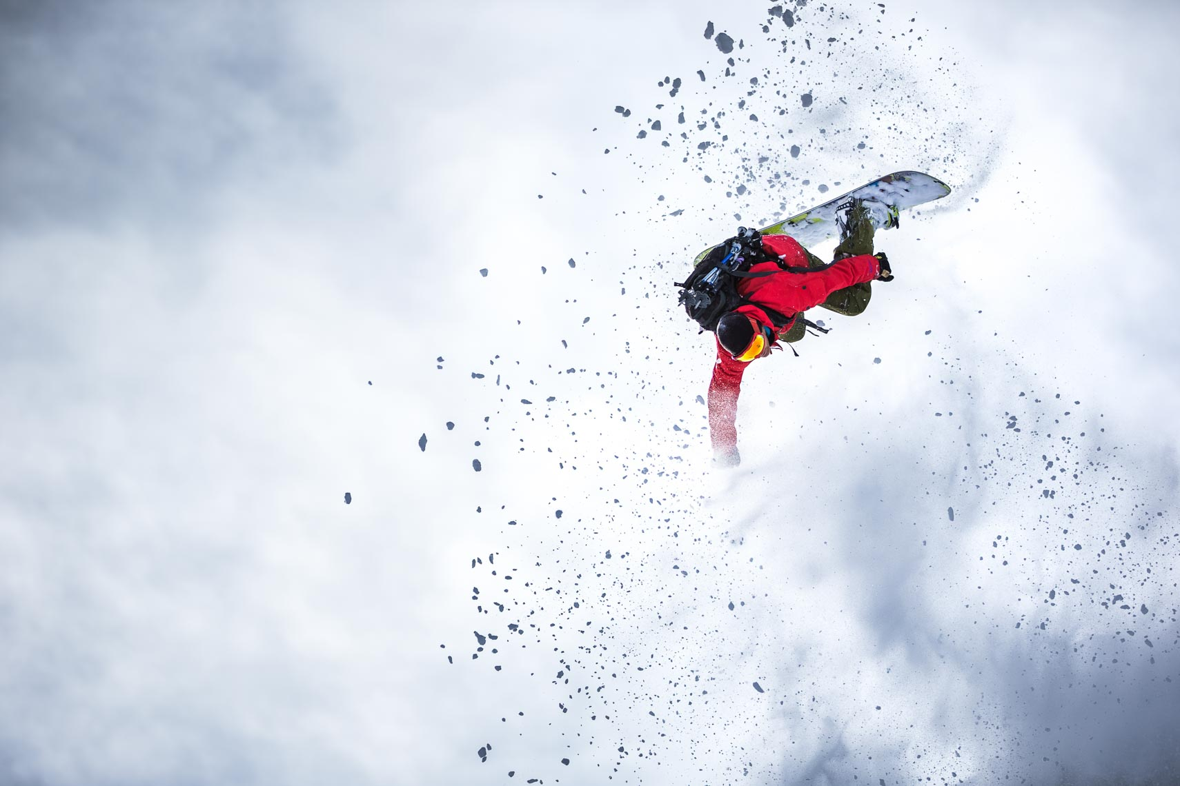 Snowboard backflip photographed by whistler ski photographer