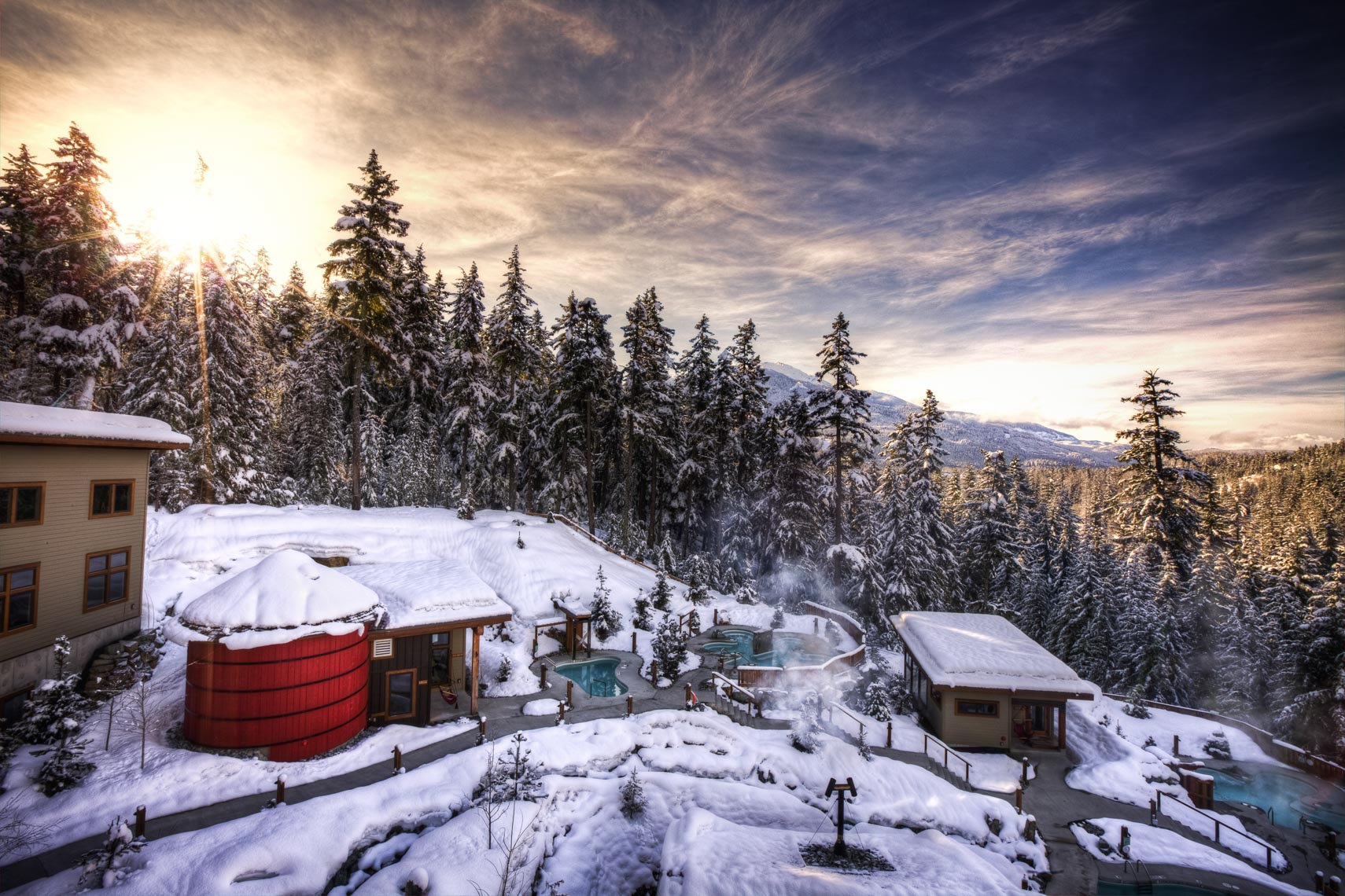 Scandinave spa in the snow in Whistler BC
