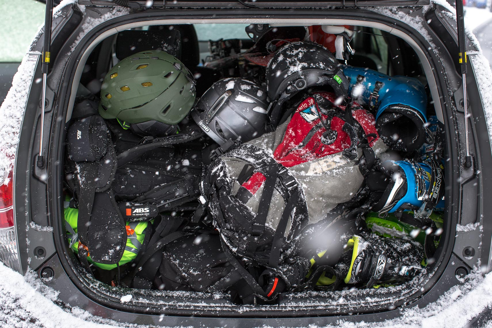 Car packed with ski gear in Hokkaido Japan