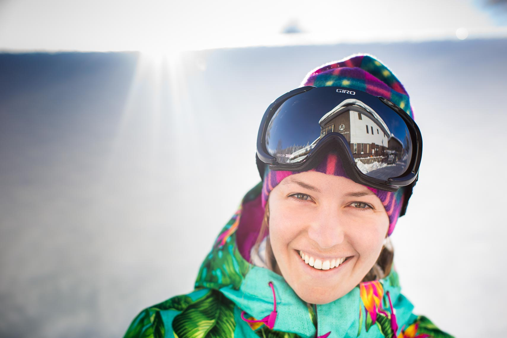 Female pro skier portrait by Whistler ski photographer