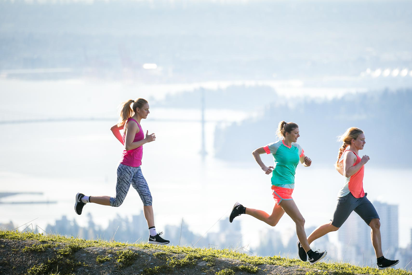 Group of athlete girls running in Vancouver BC