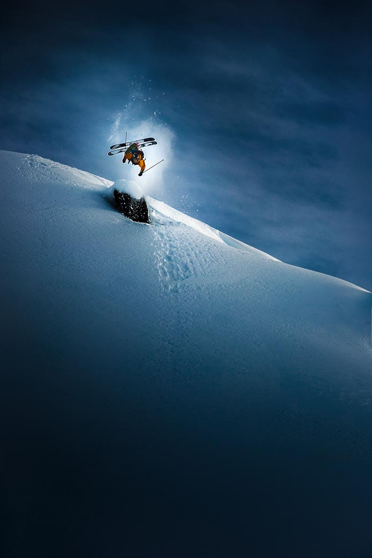 Vertical cover ski action shot by Whistler ski photographer