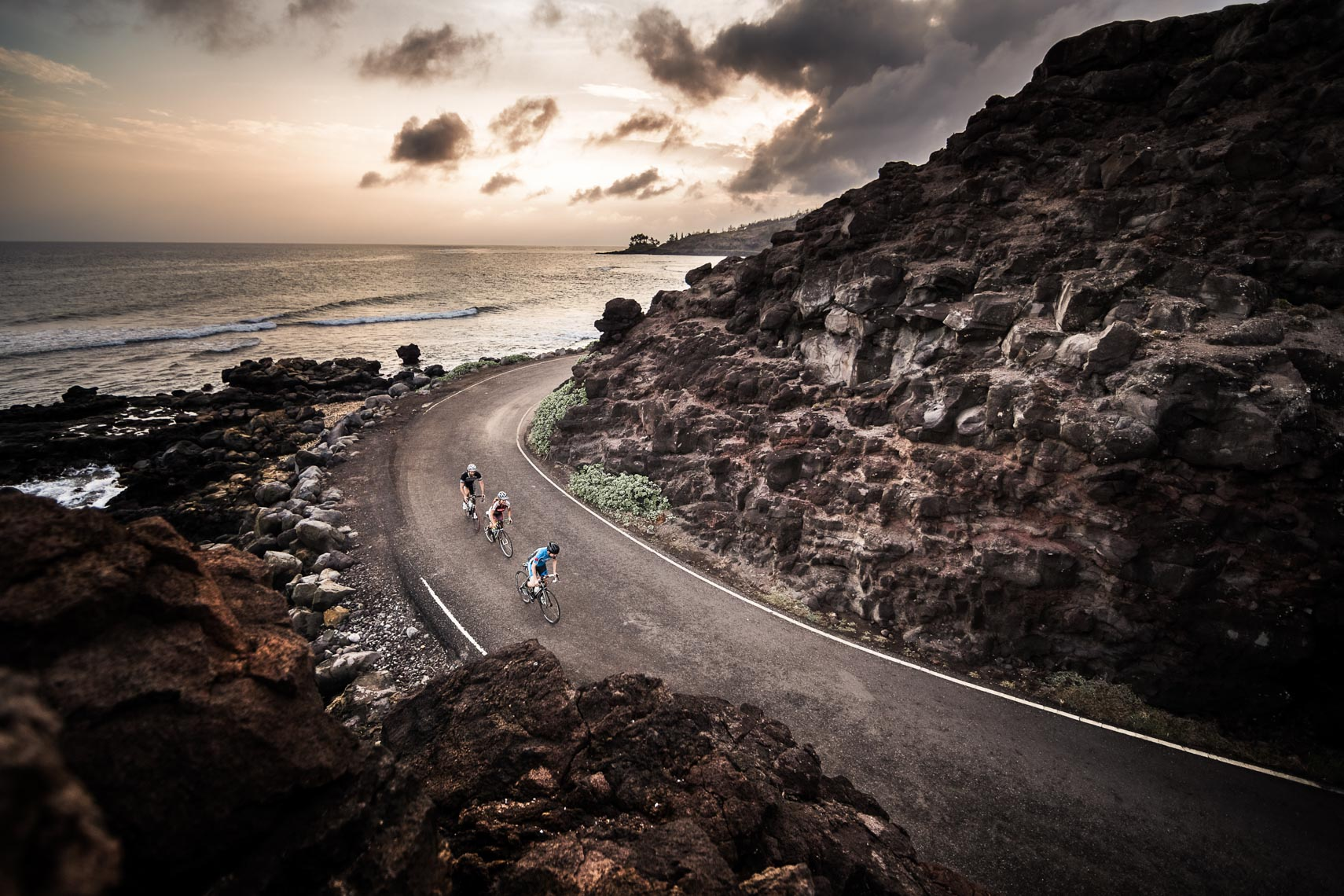 Road riding at sunset in Maui, Hawaii