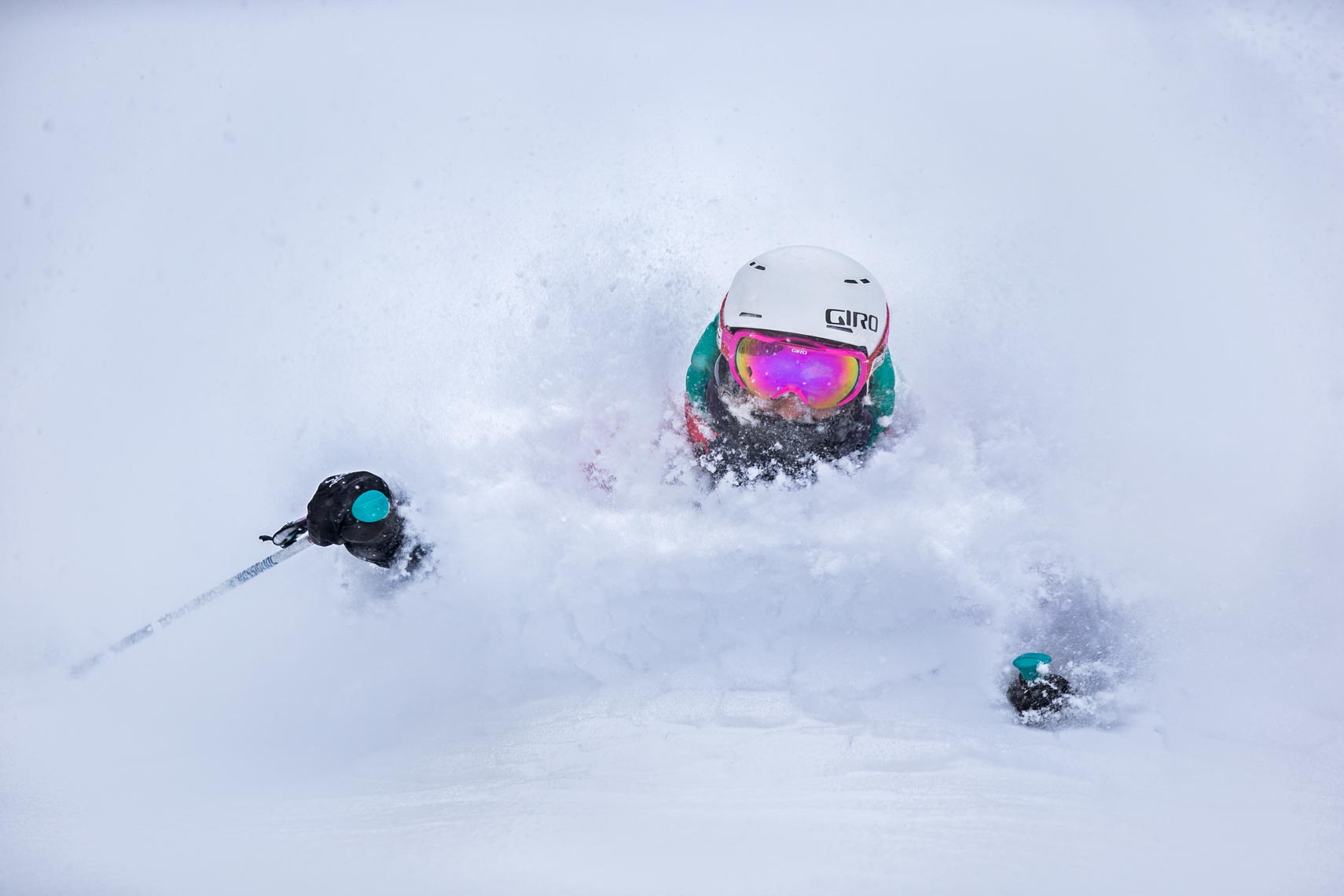 Womens ski helmet and apparel shown by Whistler ski photographer in Japan.