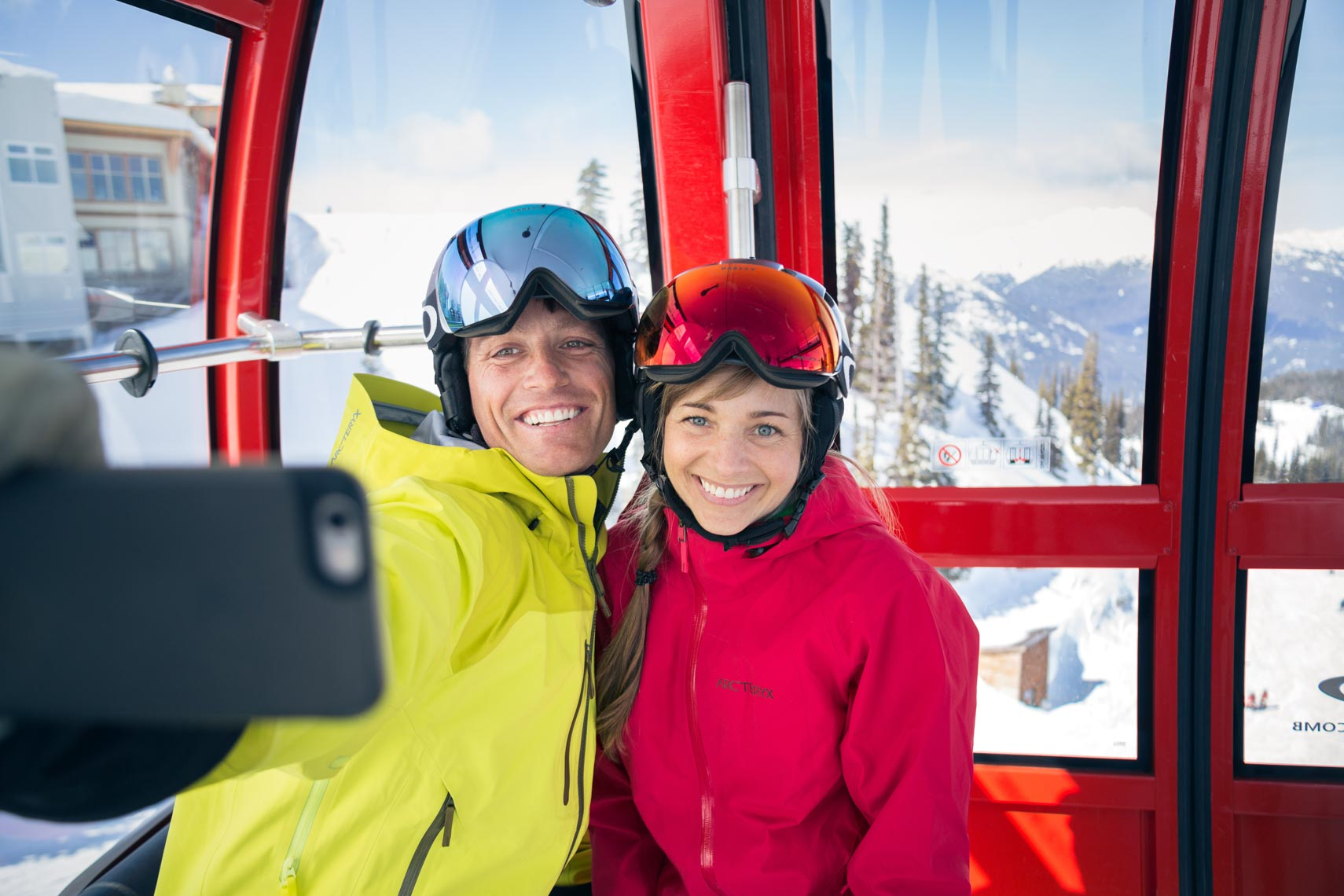 Couple selfie shot in Sea2Sky Gondola, Whistler Blackcomb 2016