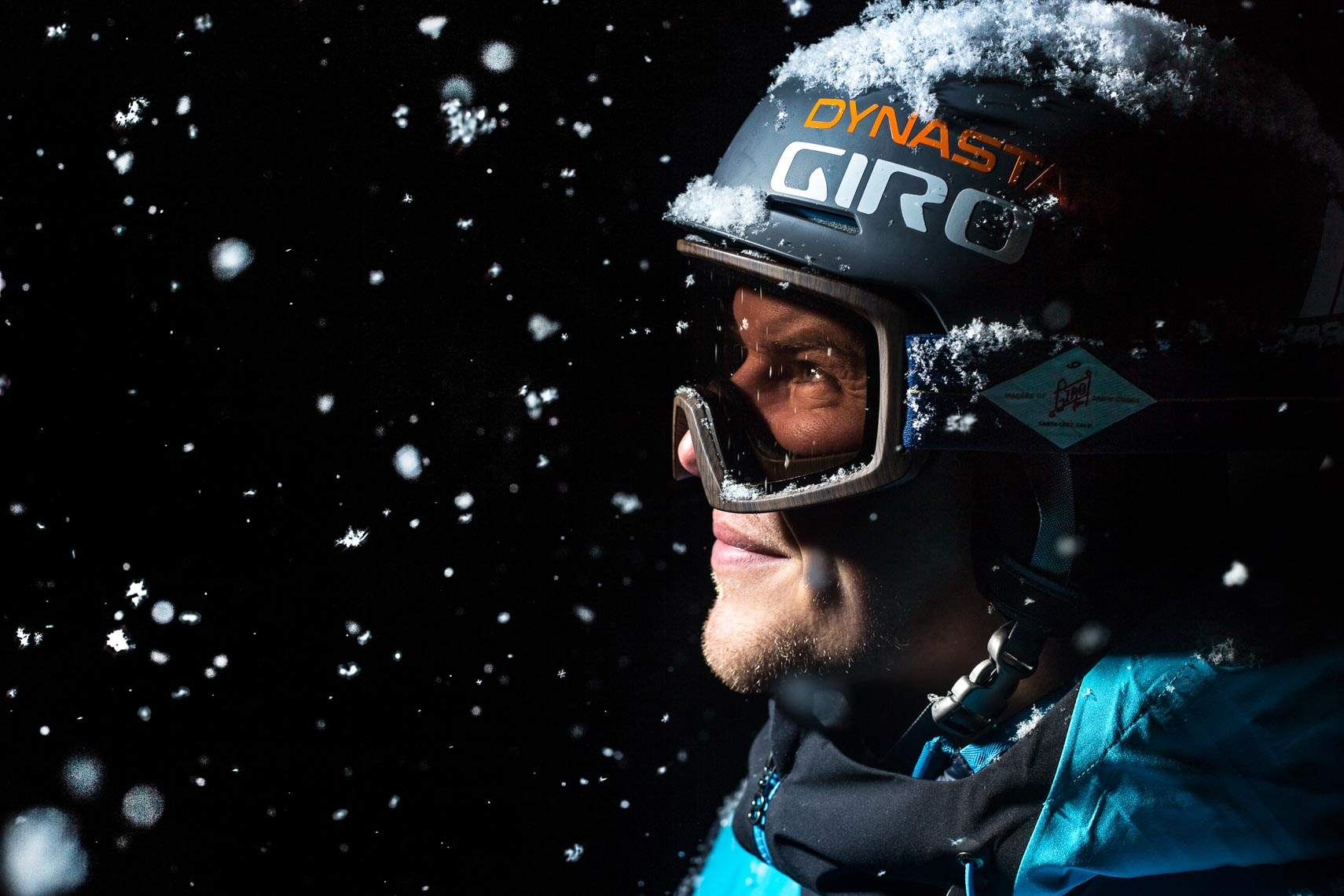 Giro ski helmet pro skier portrait in Japan