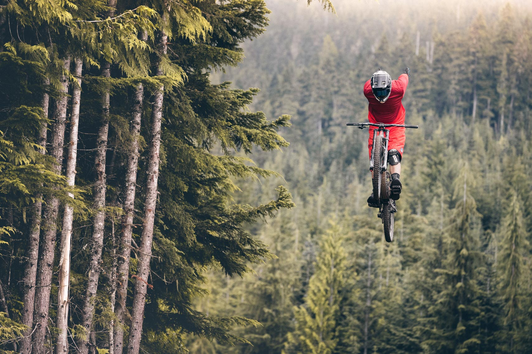 No-hands mountain bike jump in the Whistler Bike Park