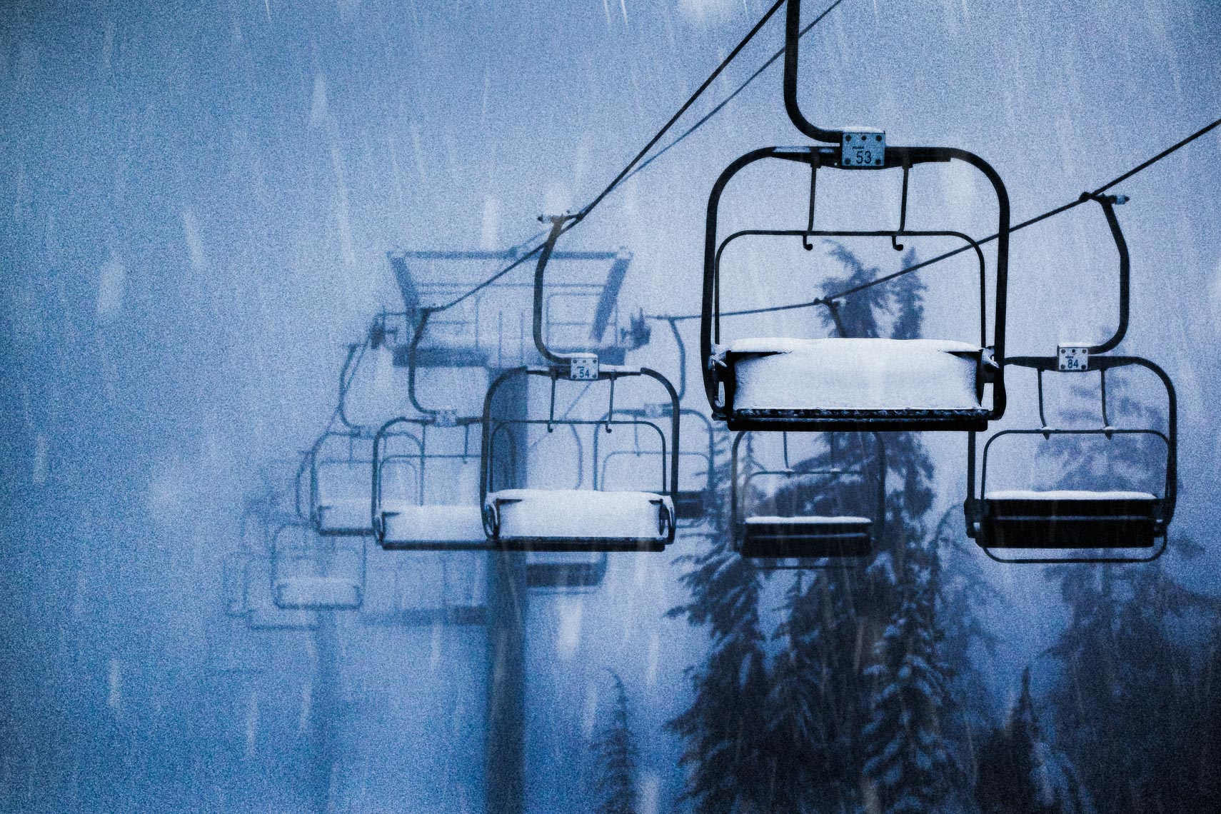 Snowy ski lifts in the winter