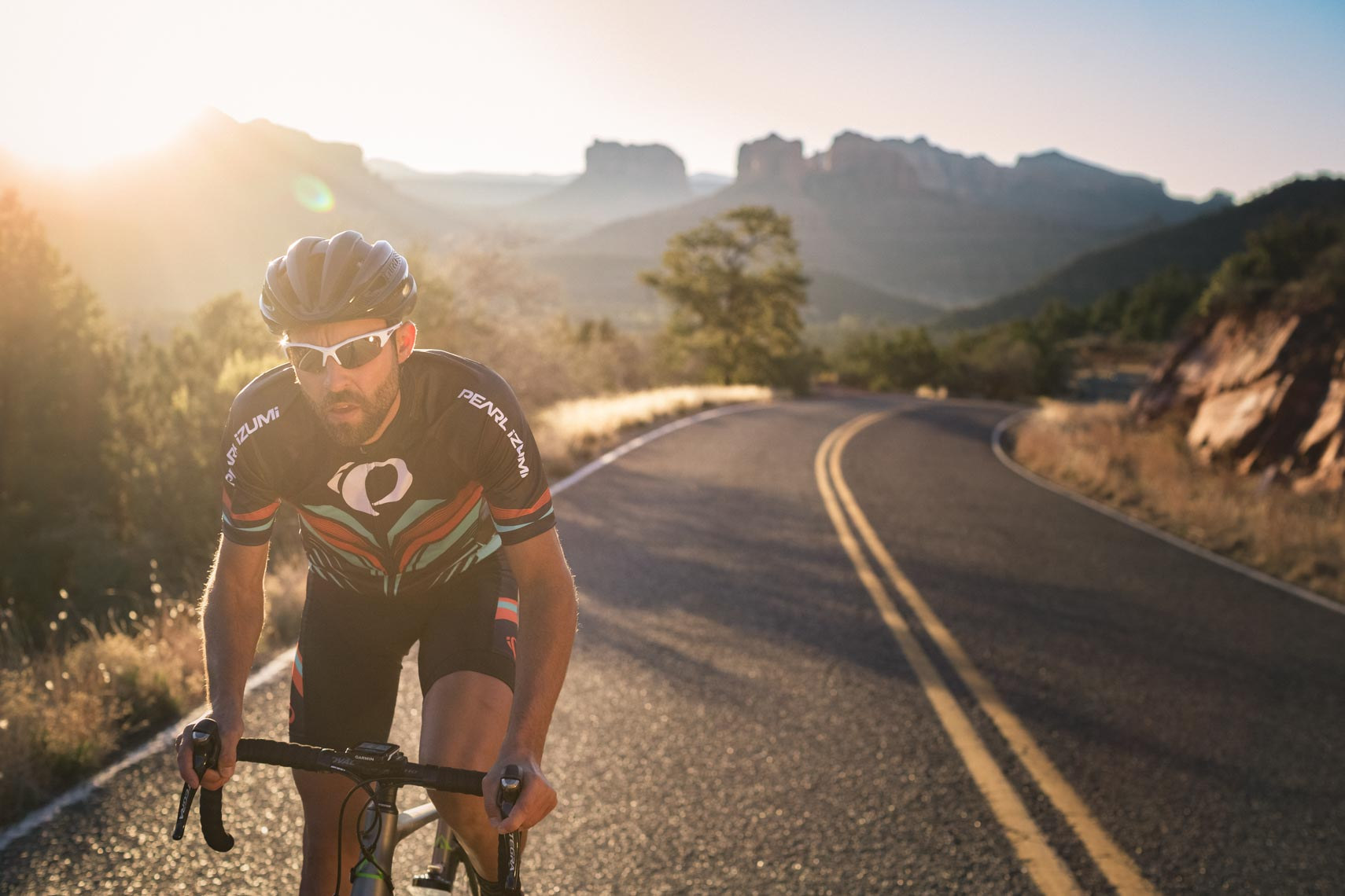 Performance Bikes athlete in cycling clothing kit in Sedona Arizona
