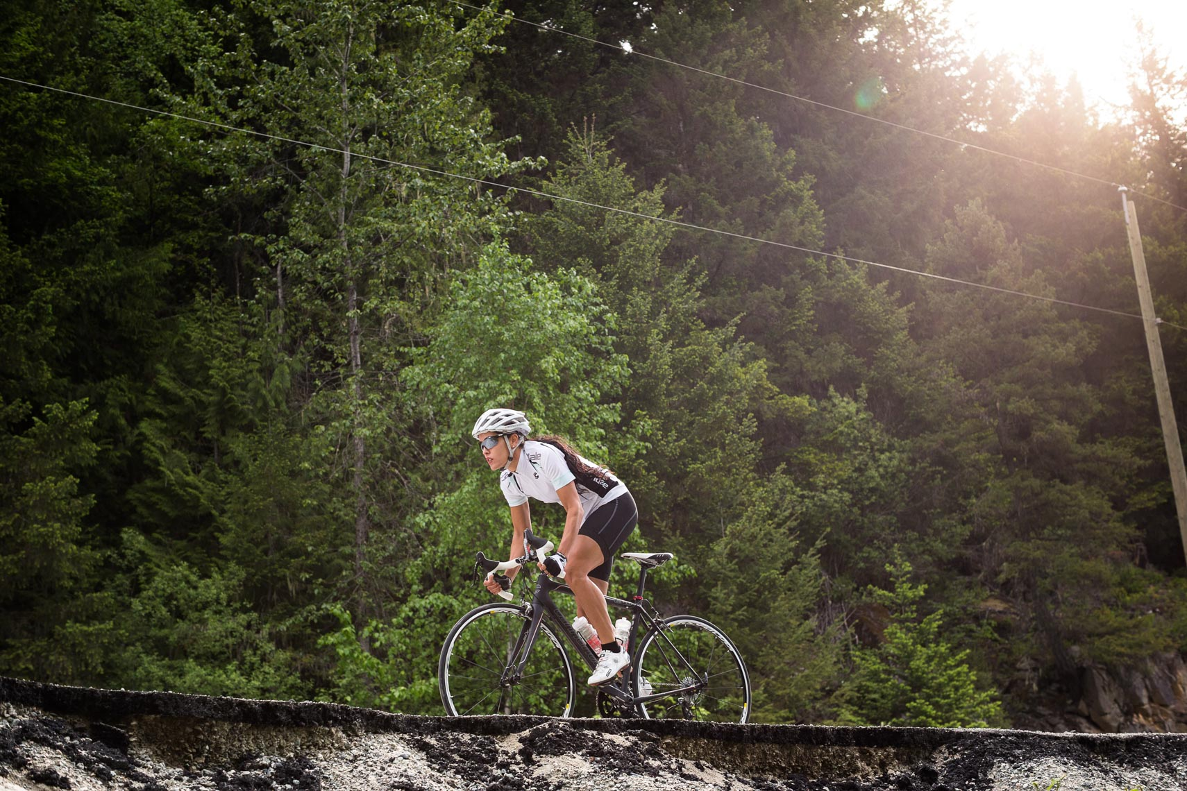 Female road cyclist in Pemberton BC