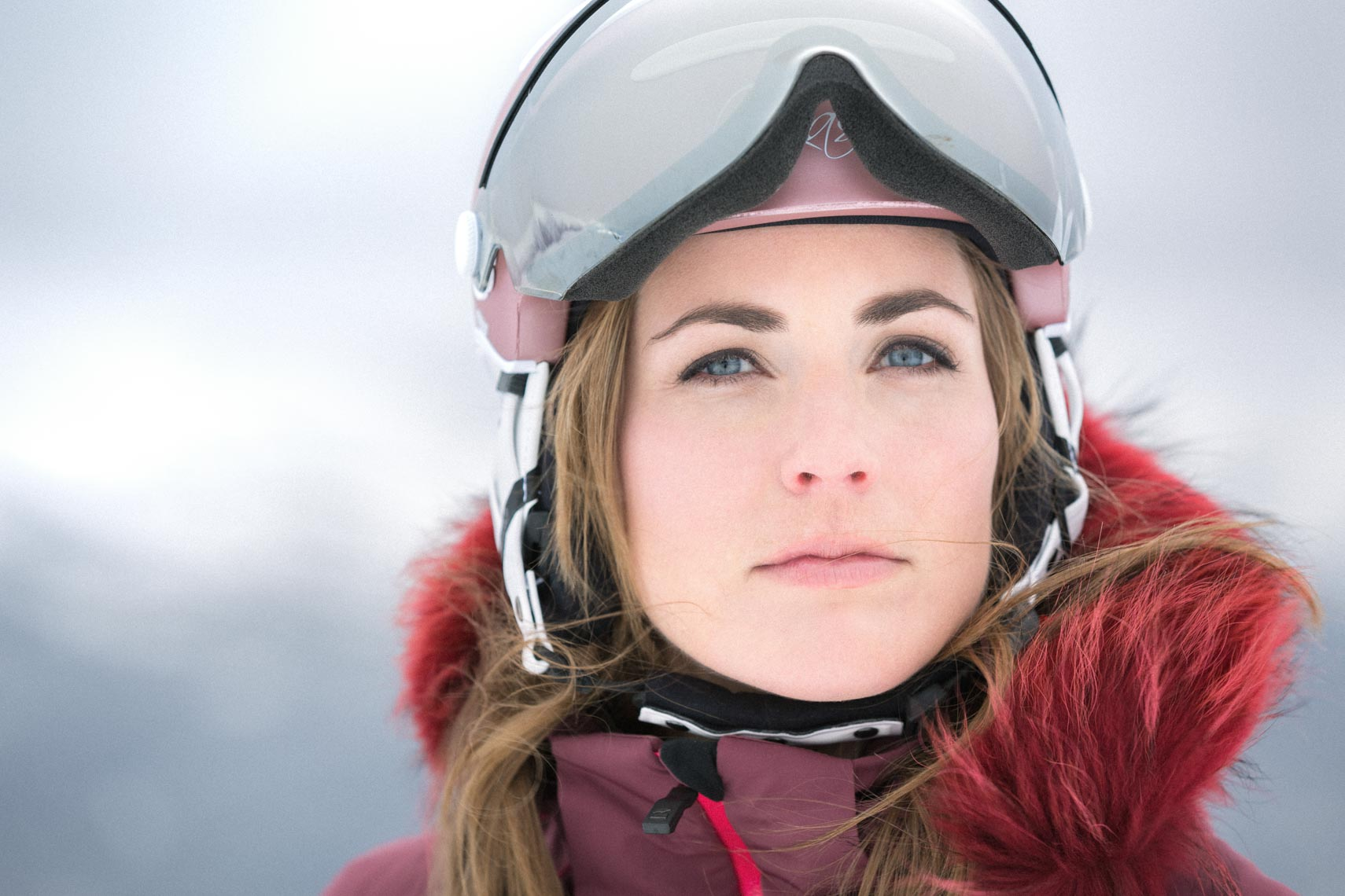 Female skier with goggles in Whistler BC.