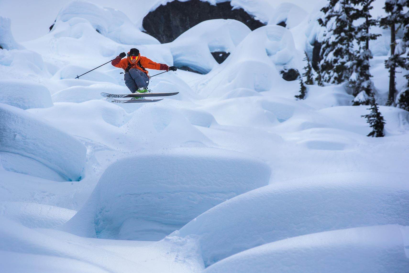 Eric Hoji Hjorleifson skiing in Whistler British columbia shot by pro ski photographer