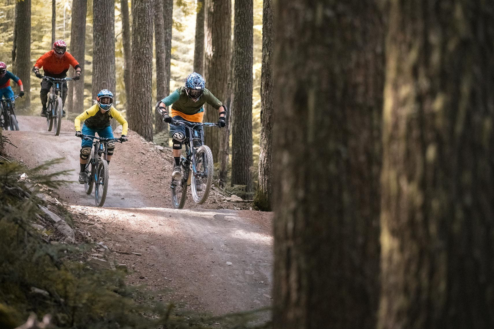 Mountain bike riders in the Whistler Bike park 2016