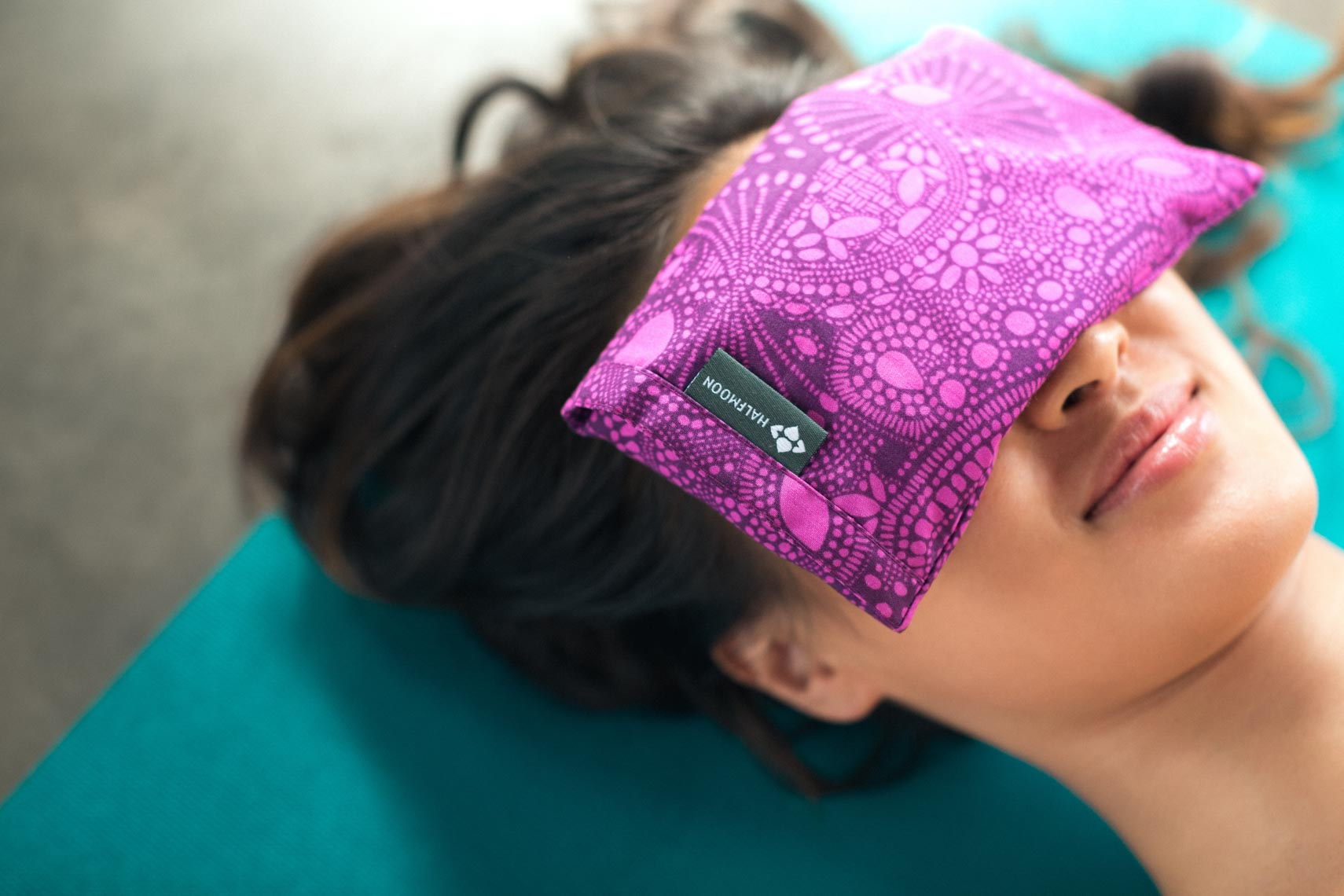 Halfmoon yoga silk eye pillow shown by product photographer in Vancouver 2016