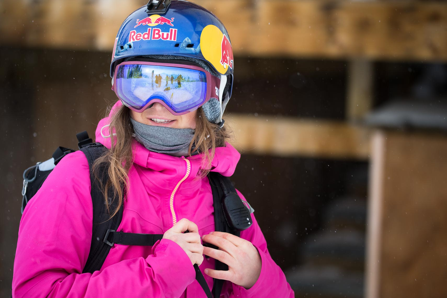 Redbull sponsored female skier in Canada by ski photographer