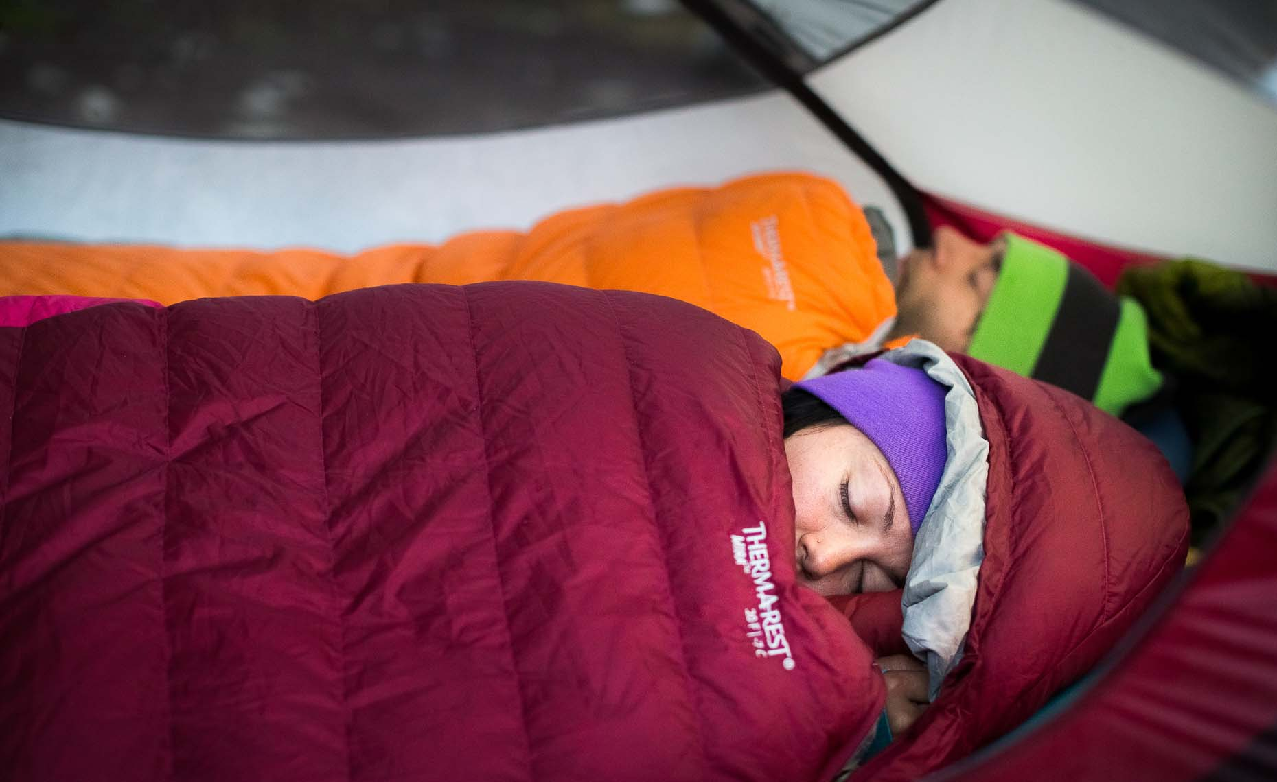Couple sleeping in therm-a-rest sleeping bags