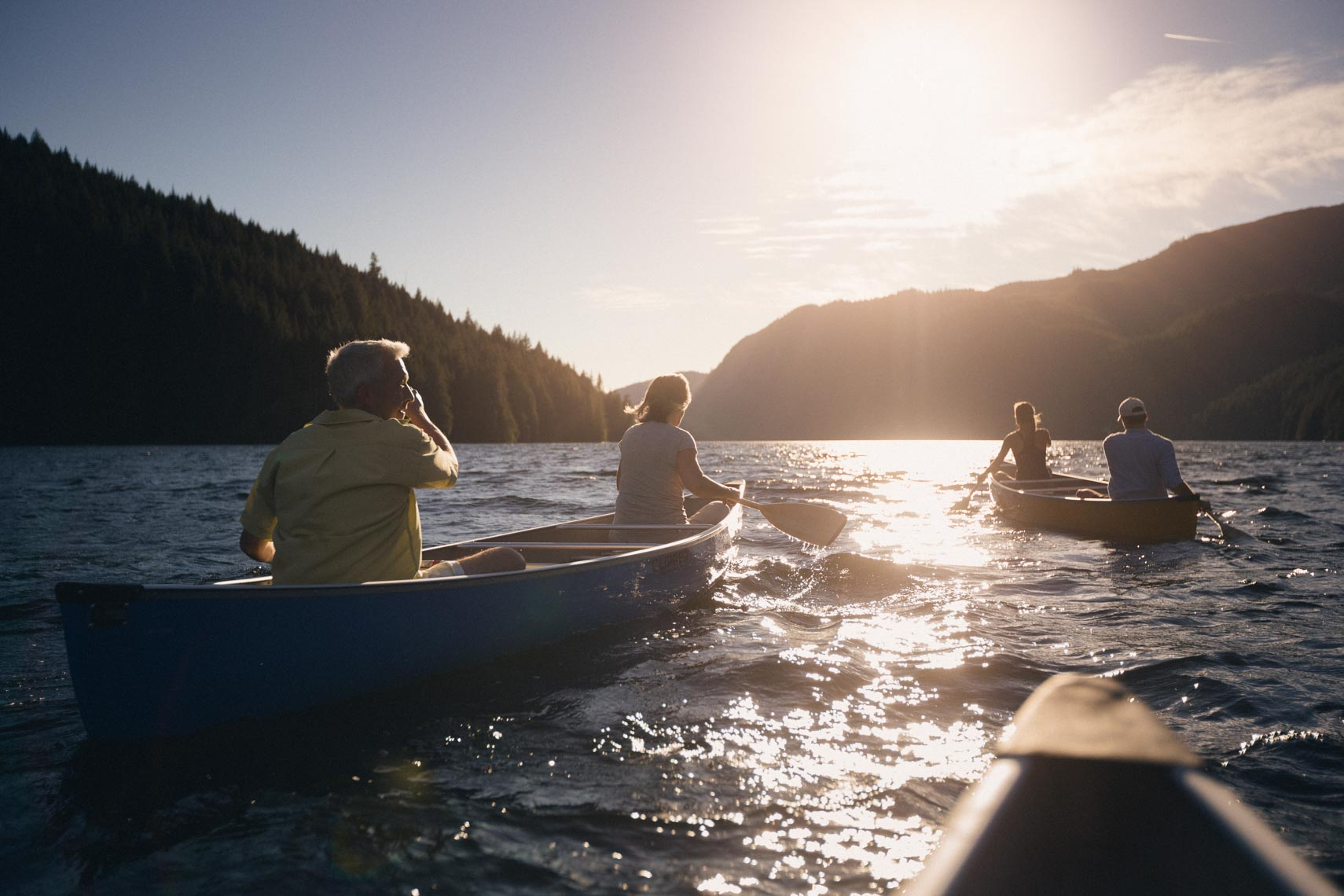Canoeing at Sonora Lodge in British Columbia, Canada.