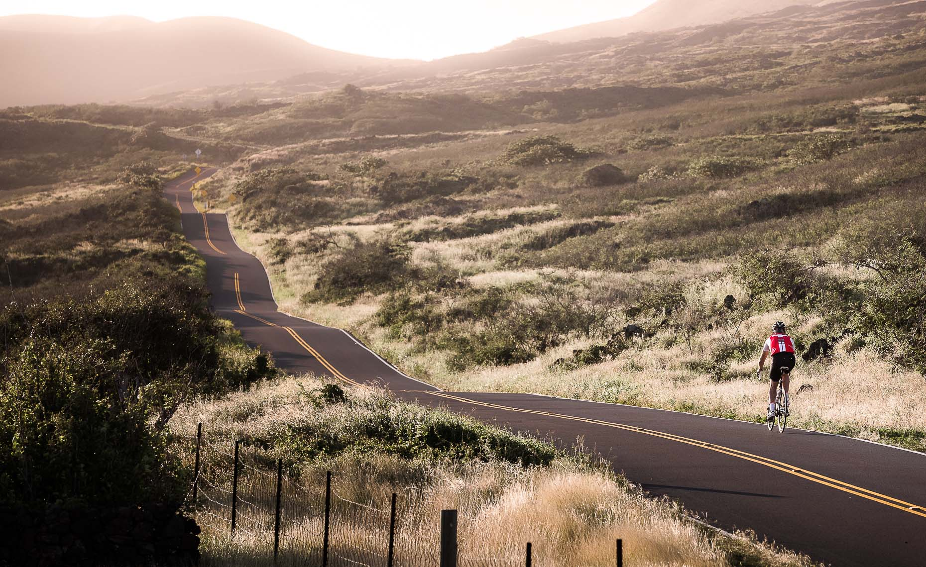 Canadian Road riding athlete in maui on feature photography article for paved magazine.