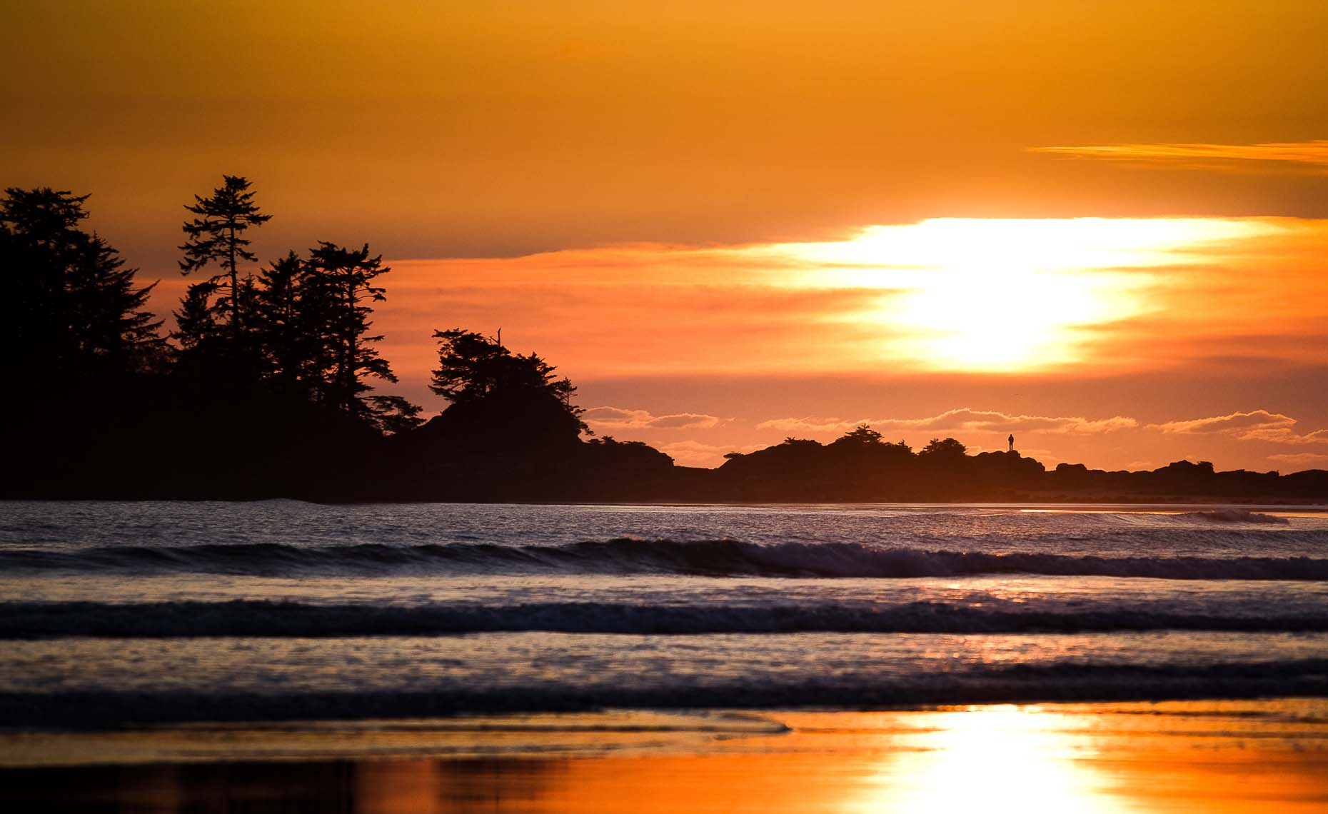 Scenic ocean landscape shot during editorial surf action photography project in tofino BC.