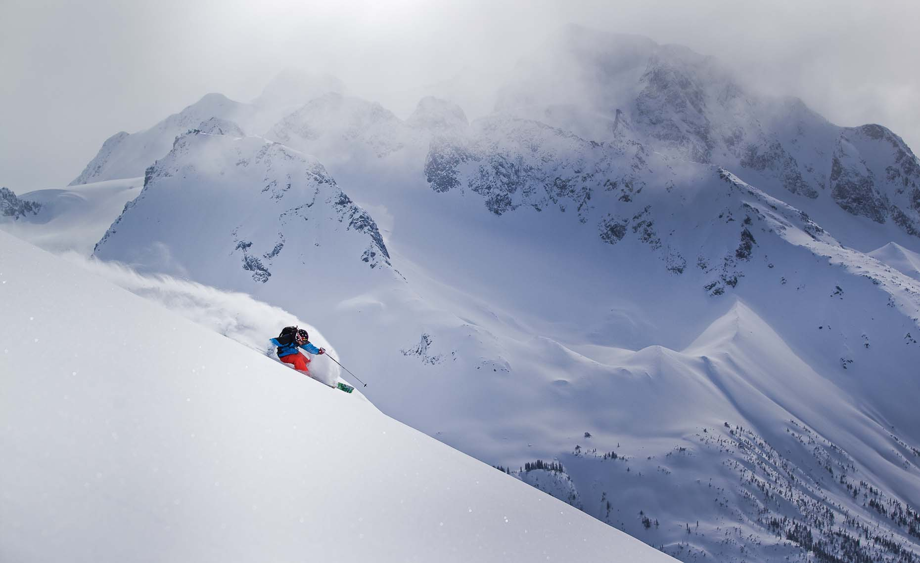 heliskiing photographer from whistler shows winter athletes