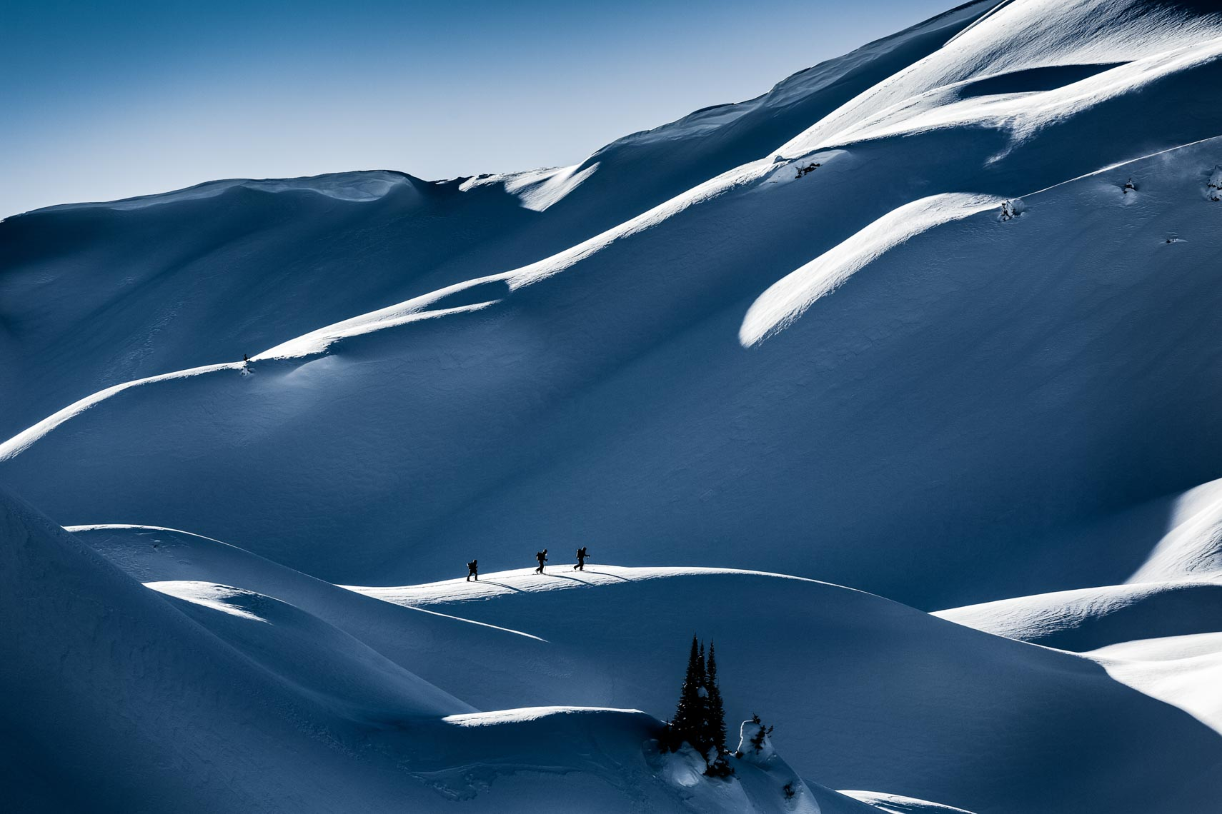 Pro skier ski touring landscape photography by Whistler ski photographer