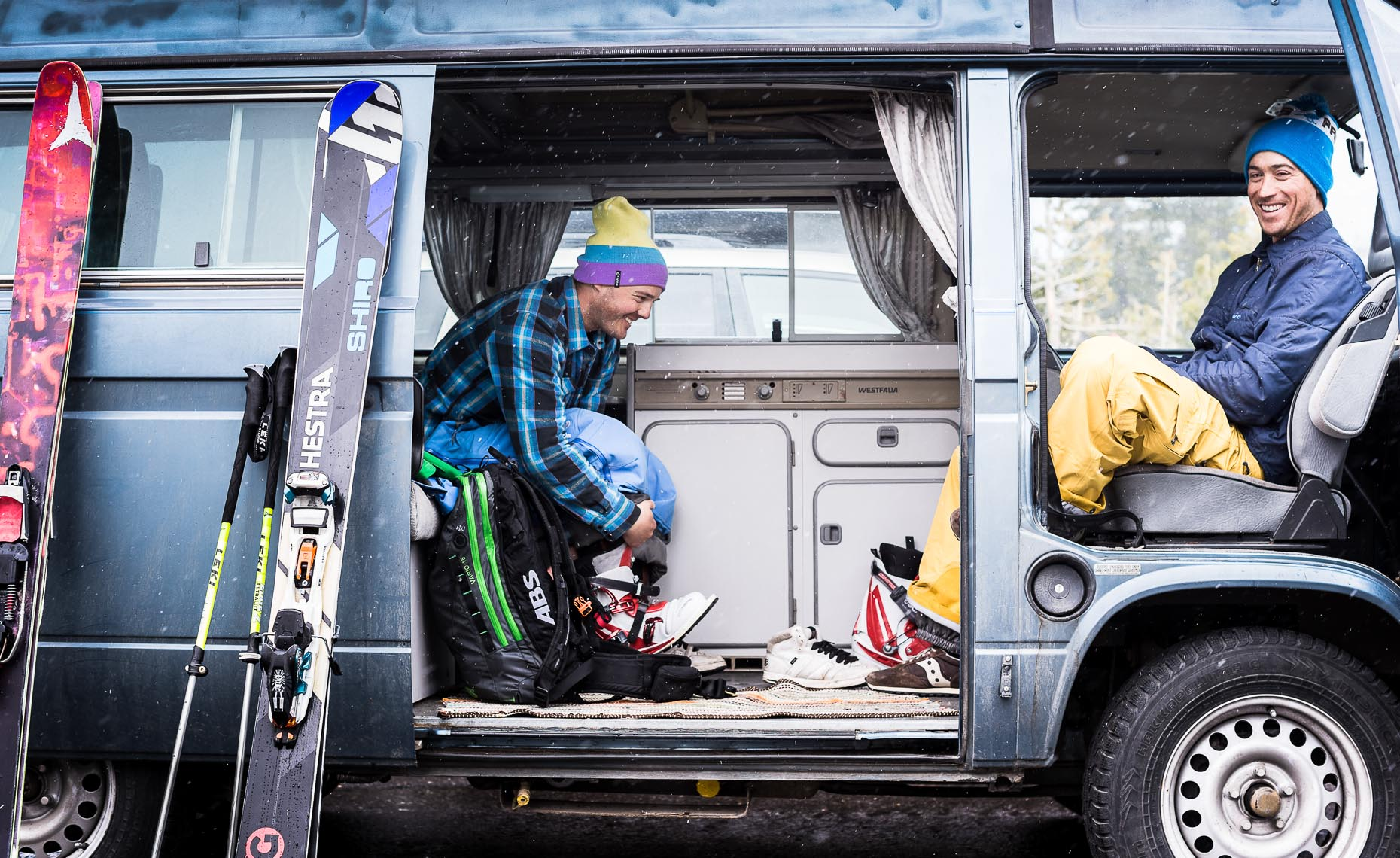 Van trip by skiers in whistler by pro photographer.