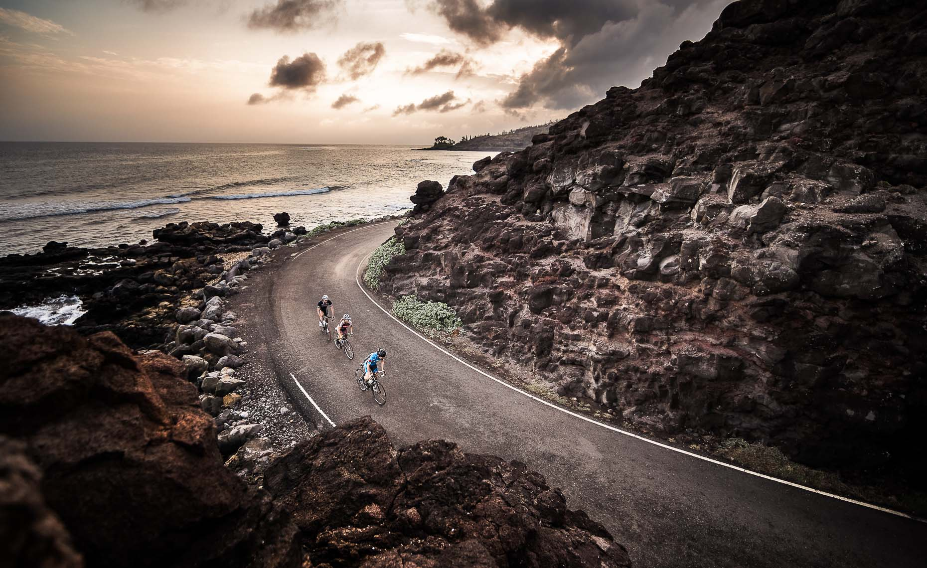 road riding sunset bike shot from maui by whistler photographer