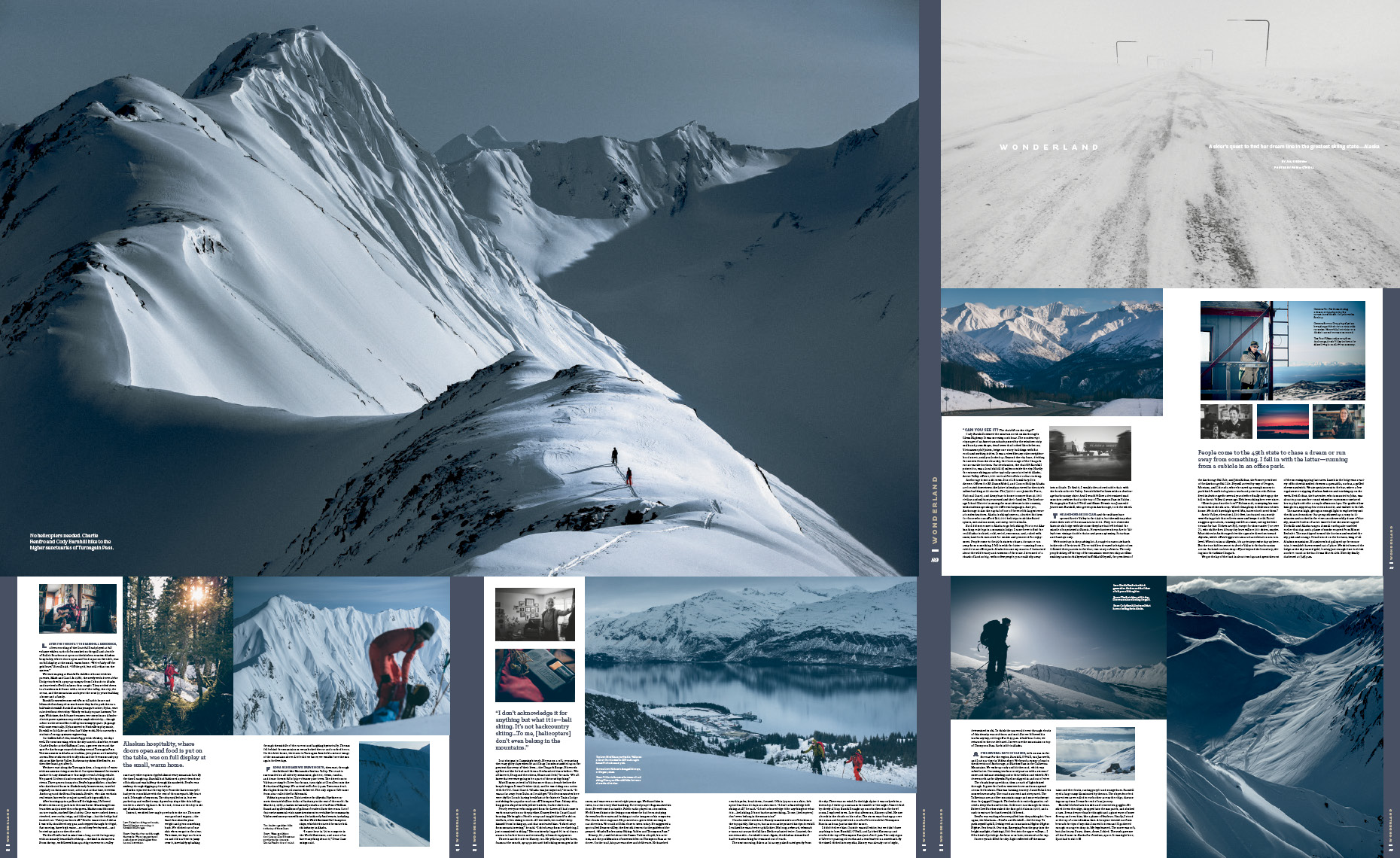 Alaska ski photography in Powder magazine article