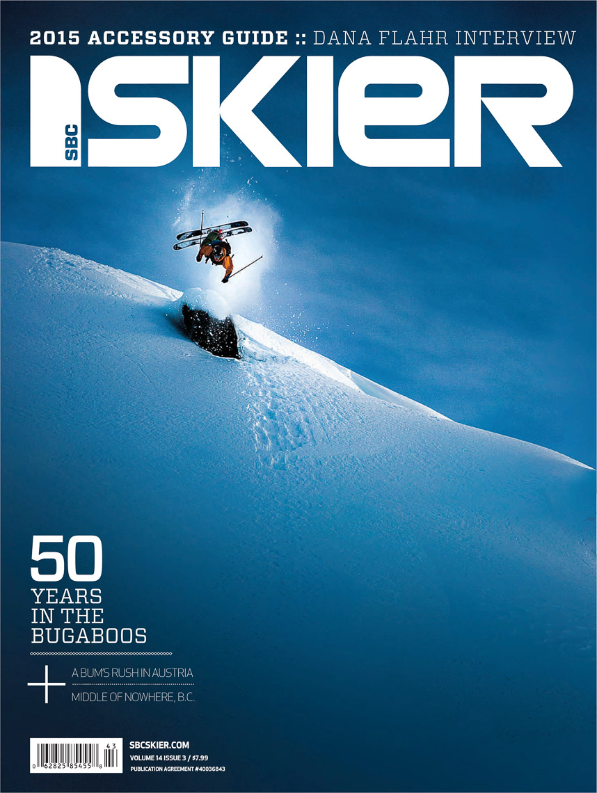 SBC Skier cover shot by international ski action photographer