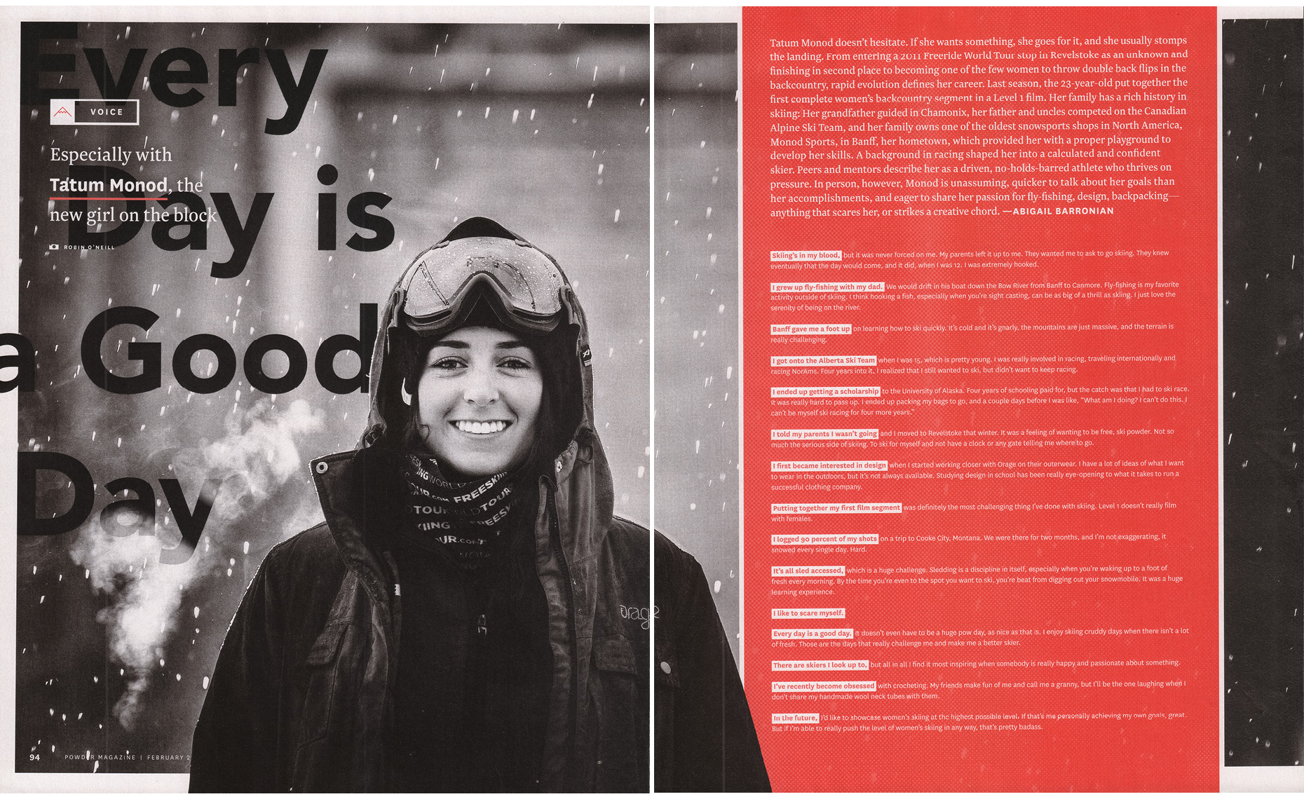 Female ski athlete Tatum Monod in Powder Magazine.