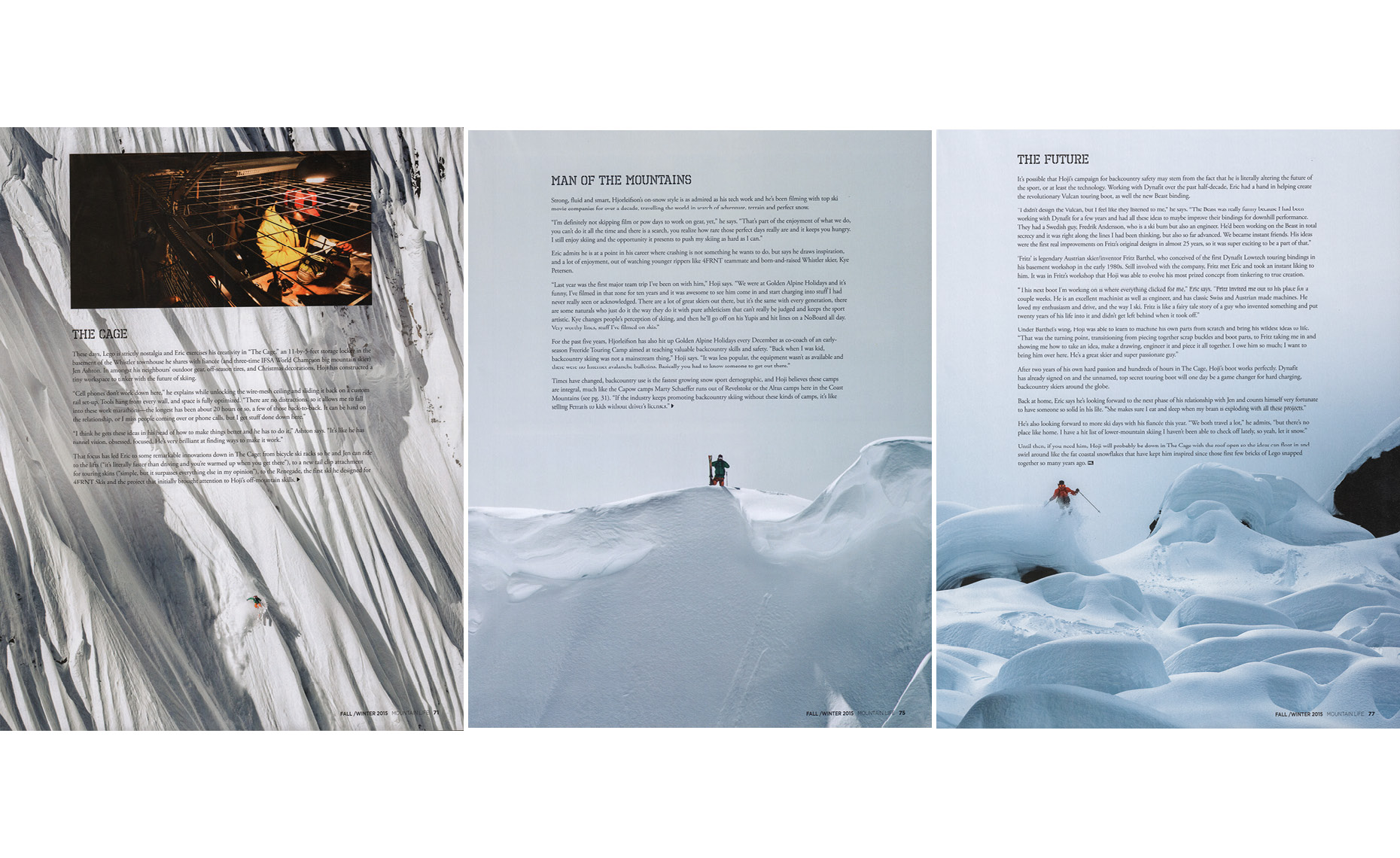 Pro skier Eric Hjorleifson in mountain life magazine article.