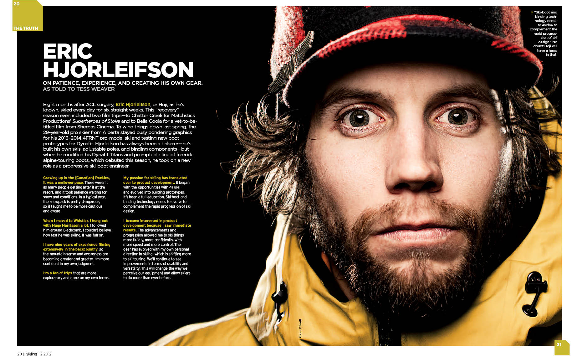 Hoji portrait ski magazine double page spread