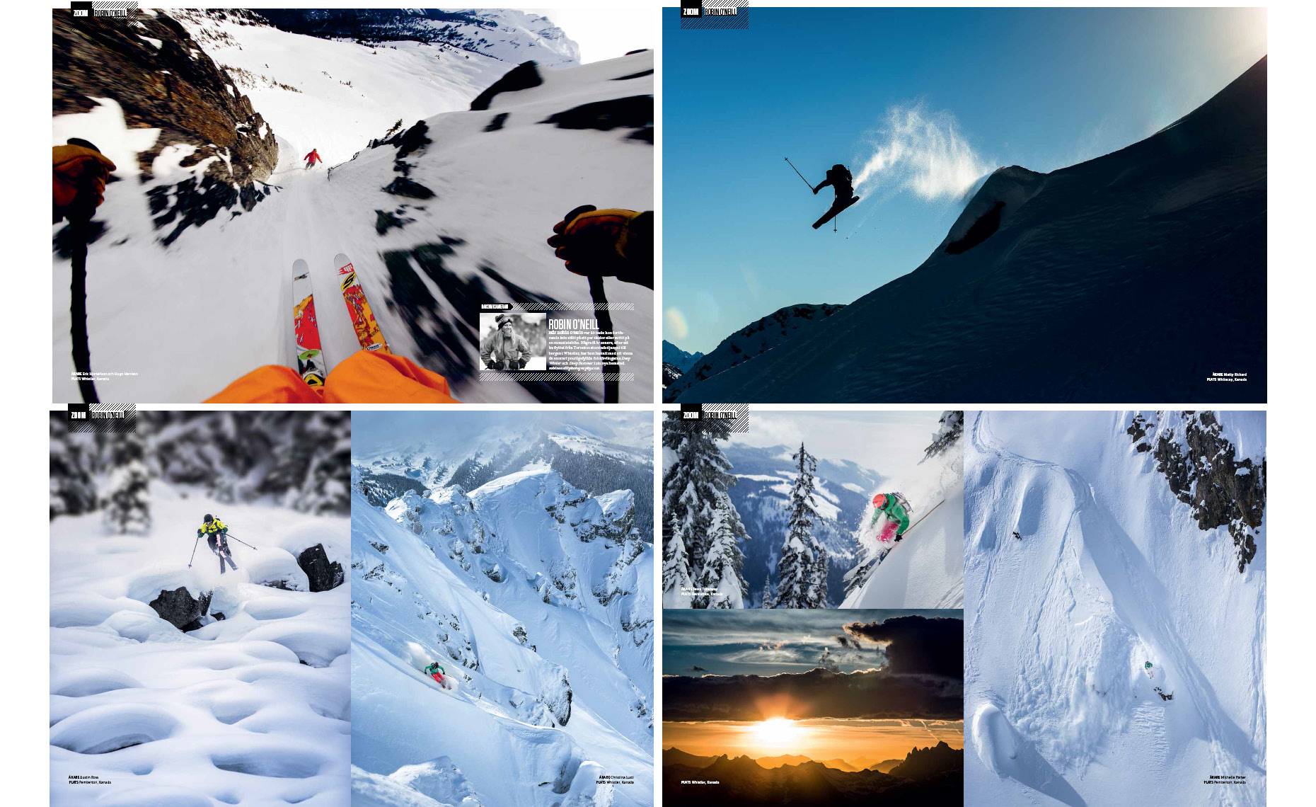Aka Skidor spread on international ski action photographer featuring eric hjorleifson
