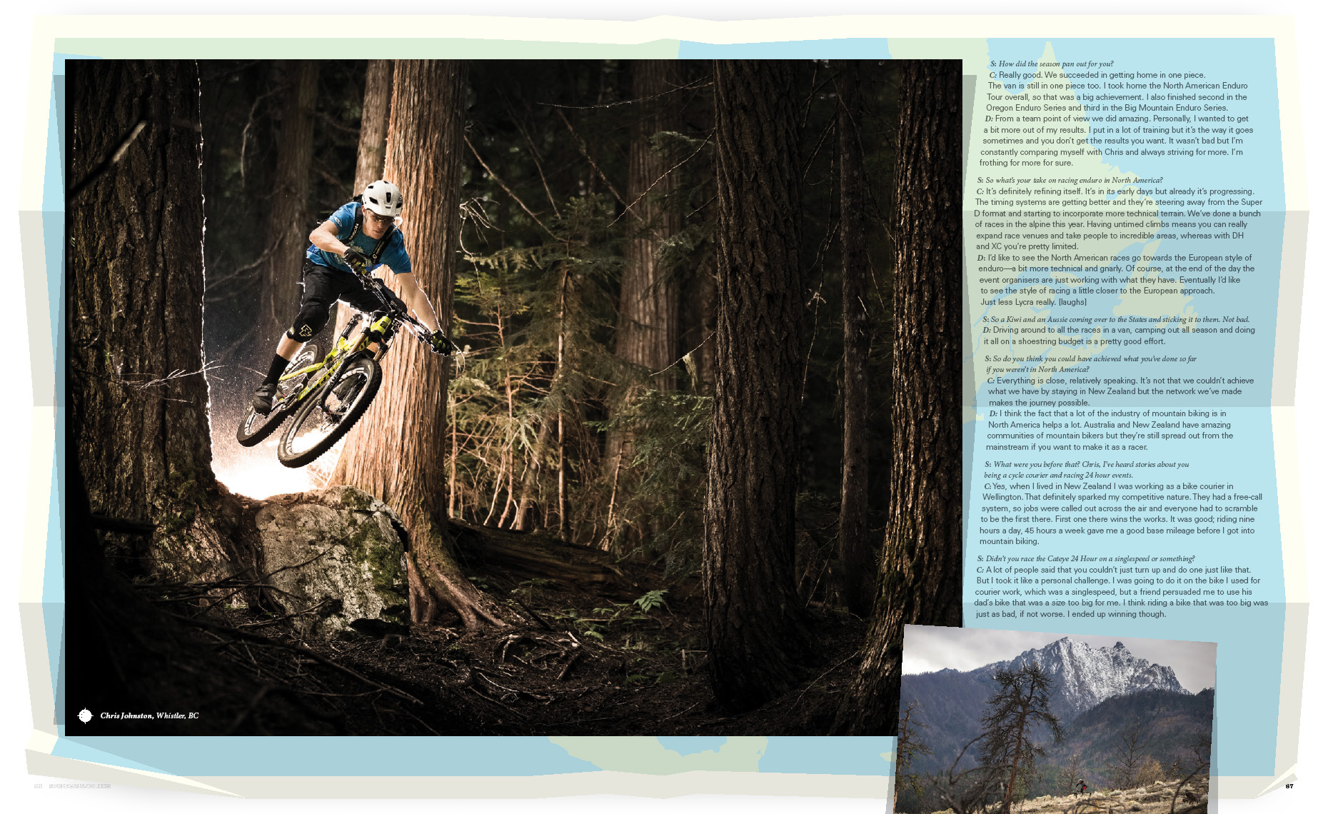 Magazine article on chris johnston pro mountain bike athlete from Whistler