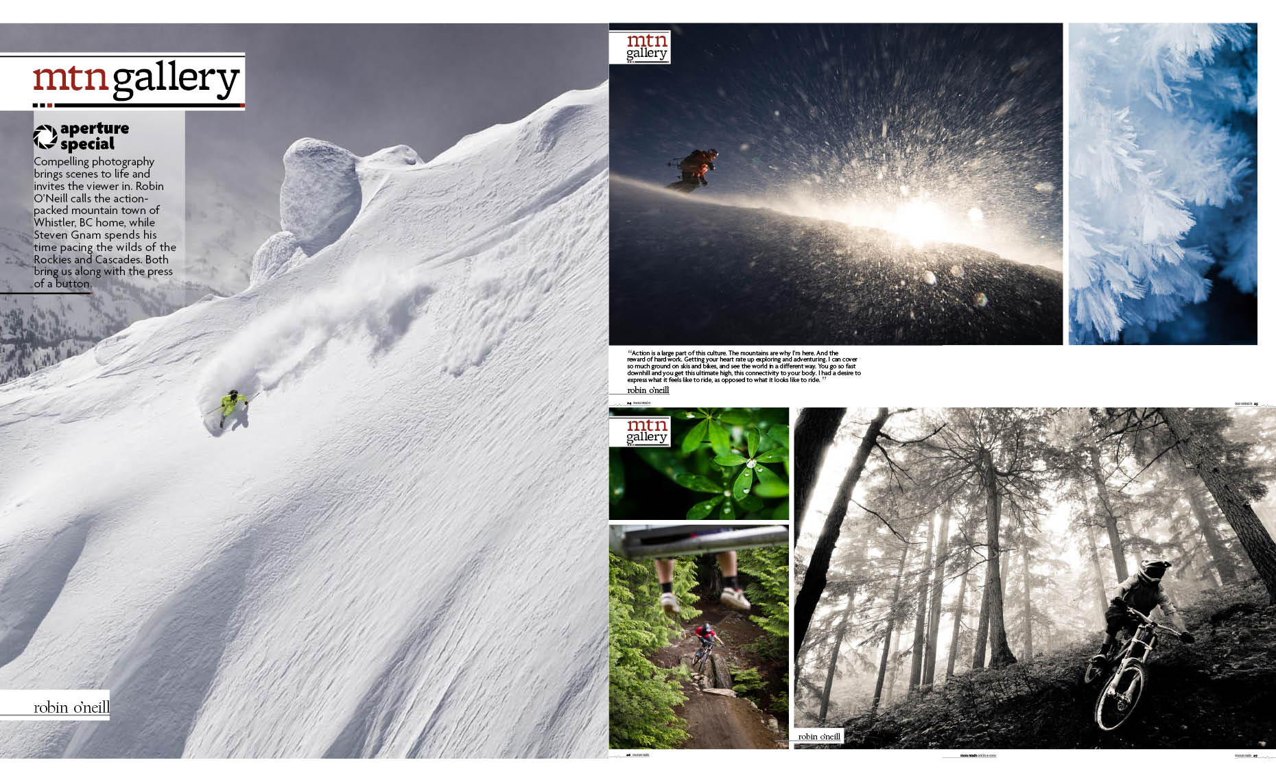 Ski magazine article by whistler photographer
