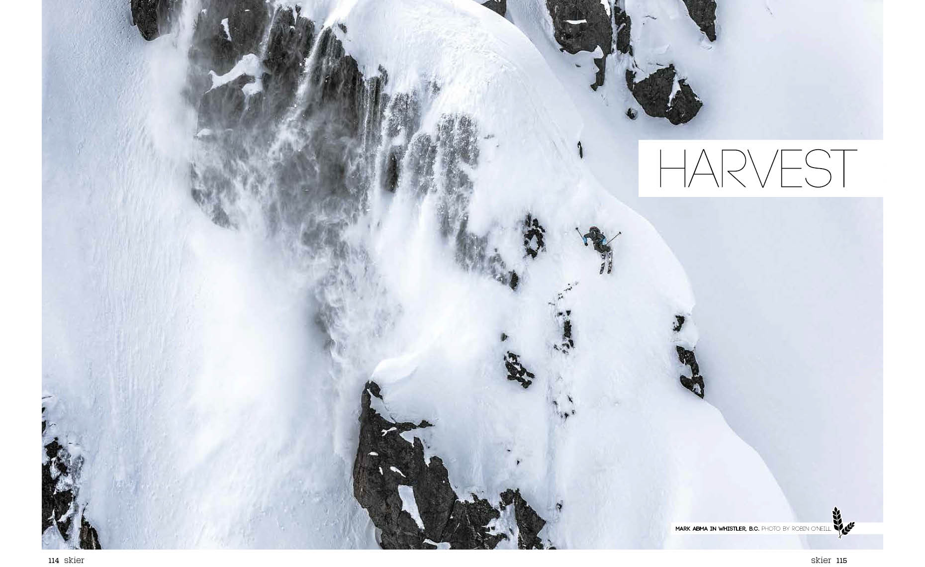 Double page spread by ski action photographer
