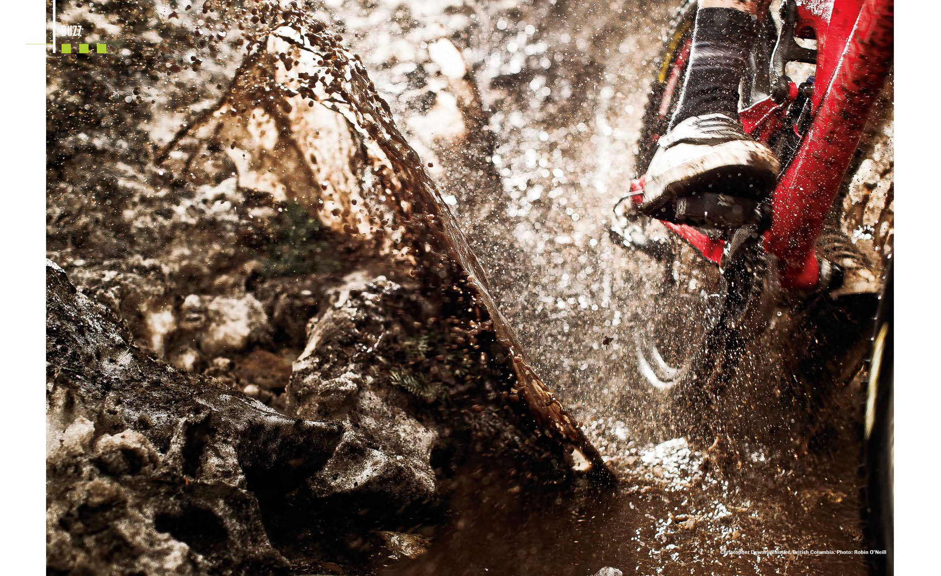 Puddle splash in bike magazine