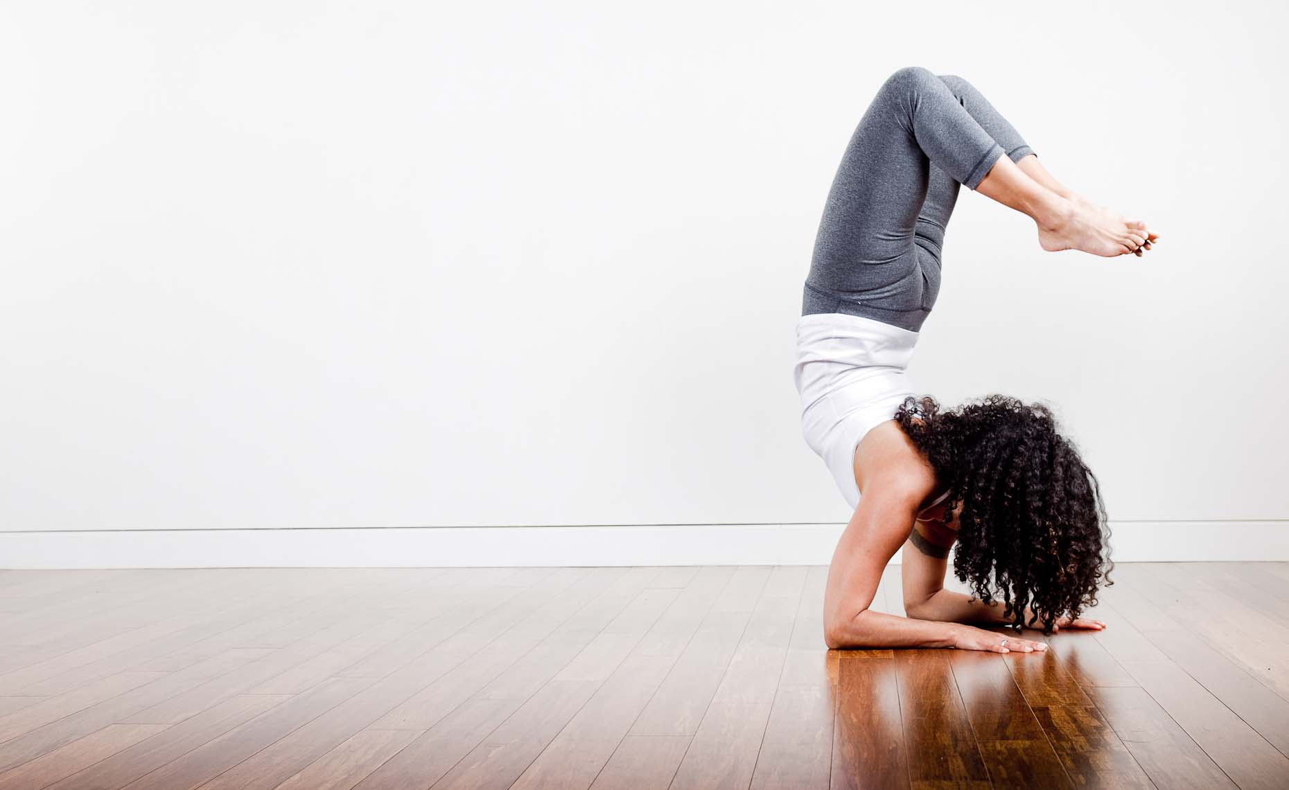 Yoga pose at Yyoga facilities in downtown vancouver.